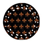 ROYAL1 BLACK MARBLE & RUSTED METAL Round Filigree Ornament (Two Sides)