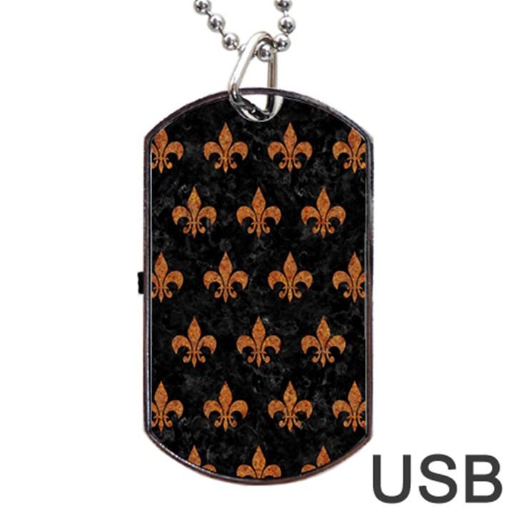 ROYAL1 BLACK MARBLE & RUSTED METAL Dog Tag USB Flash (Two Sides)