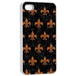 ROYAL1 BLACK MARBLE & RUSTED METAL Apple iPhone 4/4s Seamless Case (White)