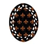 ROYAL1 BLACK MARBLE & RUSTED METAL Oval Filigree Ornament (Two Sides)