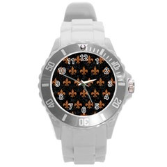 Royal1 Black Marble & Rusted Metal Round Plastic Sport Watch (l) by trendistuff