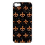 ROYAL1 BLACK MARBLE & RUSTED METAL Apple iPhone 5 Case (Silver)