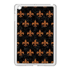 ROYAL1 BLACK MARBLE & RUSTED METAL Apple iPad Mini Case (White)