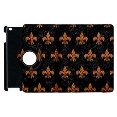 ROYAL1 BLACK MARBLE & RUSTED METAL Apple iPad 2 Flip 360 Case