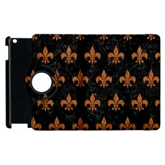 ROYAL1 BLACK MARBLE & RUSTED METAL Apple iPad 3/4 Flip 360 Case