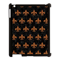 ROYAL1 BLACK MARBLE & RUSTED METAL Apple iPad 3/4 Case (Black)