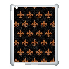 ROYAL1 BLACK MARBLE & RUSTED METAL Apple iPad 3/4 Case (White)