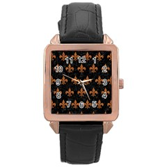 ROYAL1 BLACK MARBLE & RUSTED METAL Rose Gold Leather Watch