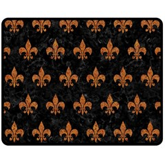 ROYAL1 BLACK MARBLE & RUSTED METAL Double Sided Fleece Blanket (Medium)