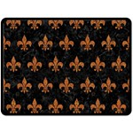ROYAL1 BLACK MARBLE & RUSTED METAL Double Sided Fleece Blanket (Large)