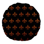 ROYAL1 BLACK MARBLE & RUSTED METAL Large 18  Premium Flano Round Cushions