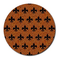 Royal1 Black Marble & Rusted Metal (r) Round Mousepads by trendistuff