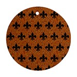 ROYAL1 BLACK MARBLE & RUSTED METAL (R) Ornament (Round) Front