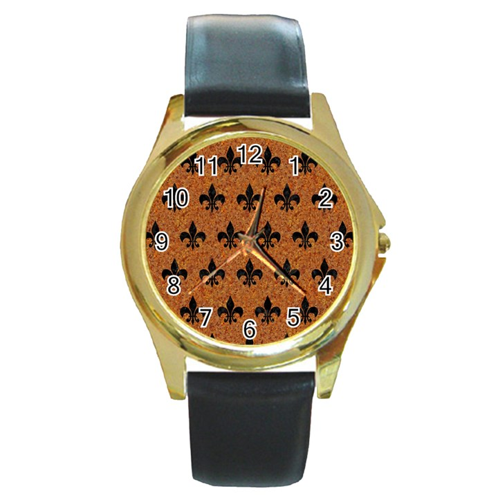 ROYAL1 BLACK MARBLE & RUSTED METAL (R) Round Gold Metal Watch