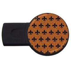 Royal1 Black Marble & Rusted Metal (r) Usb Flash Drive Round (2 Gb)
