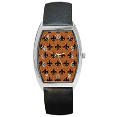 Royal1 Black Marble & Rusted Metal (r) Barrel Style Metal Watch by trendistuff