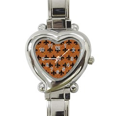 Royal1 Black Marble & Rusted Metal (r) Heart Italian Charm Watch by trendistuff