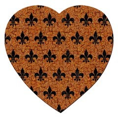 Royal1 Black Marble & Rusted Metal (r) Jigsaw Puzzle (heart)