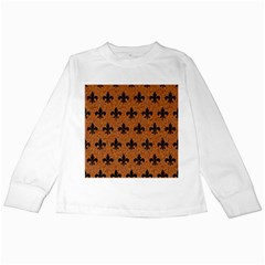 Royal1 Black Marble & Rusted Metal (r) Kids Long Sleeve T Shirts