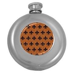 Royal1 Black Marble & Rusted Metal (r) Round Hip Flask (5 Oz)