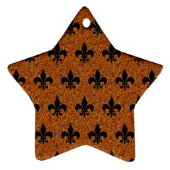Royal1 Black Marble & Rusted Metal (r) Star Ornament (two Sides)