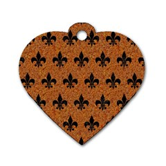 Royal1 Black Marble & Rusted Metal (r) Dog Tag Heart (one Side) by trendistuff