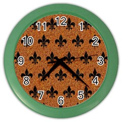 Royal1 Black Marble & Rusted Metal (r) Color Wall Clocks