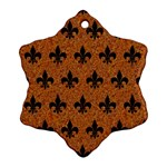 ROYAL1 BLACK MARBLE & RUSTED METAL (R) Snowflake Ornament (Two Sides) Back
