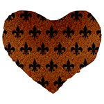 ROYAL1 BLACK MARBLE & RUSTED METAL (R) Large 19  Premium Heart Shape Cushions Front