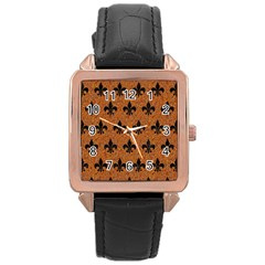 Royal1 Black Marble & Rusted Metal (r) Rose Gold Leather Watch  by trendistuff