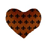 ROYAL1 BLACK MARBLE & RUSTED METAL (R) Standard 16  Premium Flano Heart Shape Cushions Front