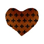 ROYAL1 BLACK MARBLE & RUSTED METAL (R) Standard 16  Premium Flano Heart Shape Cushions Back