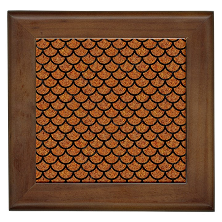 SCALES1 BLACK MARBLE & RUSTED METAL Framed Tiles