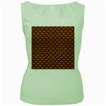 SCALES1 BLACK MARBLE & RUSTED METAL Women s Green Tank Top