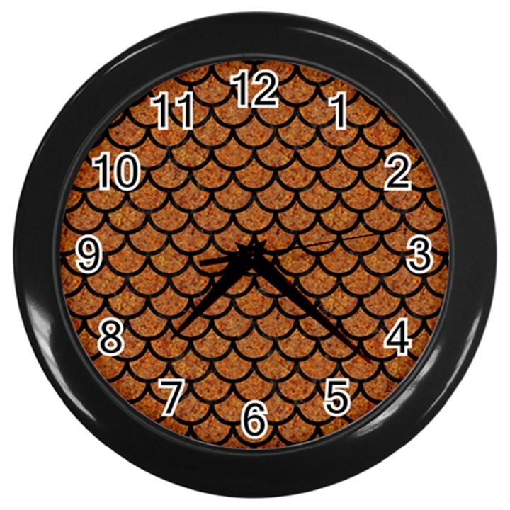 SCALES1 BLACK MARBLE & RUSTED METAL Wall Clocks (Black)