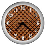 SCALES1 BLACK MARBLE & RUSTED METAL Wall Clocks (Silver)