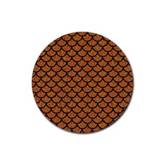 Scales1 Black Marble & Rusted Metal Rubber Coaster (round)