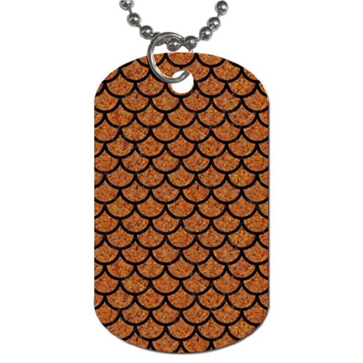 SCALES1 BLACK MARBLE & RUSTED METAL Dog Tag (One Side)