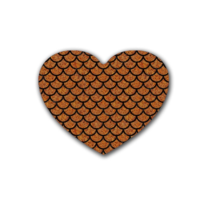 SCALES1 BLACK MARBLE & RUSTED METAL Heart Coaster (4 pack)