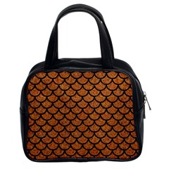 Scales1 Black Marble & Rusted Metal Classic Handbags (2 Sides)