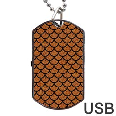 Scales1 Black Marble & Rusted Metal Dog Tag Usb Flash (one Side) by trendistuff