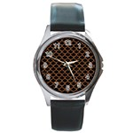 SCALES1 BLACK MARBLE & RUSTED METAL (R) Round Metal Watch