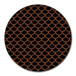 SCALES1 BLACK MARBLE & RUSTED METAL (R) Round Mousepads