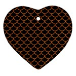 SCALES1 BLACK MARBLE & RUSTED METAL (R) Ornament (Heart)