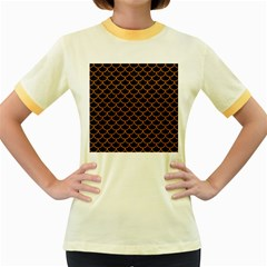 Scales1 Black Marble & Rusted Metal (r) Women s Fitted Ringer T Shirts