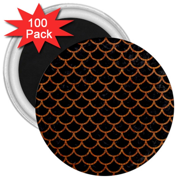 SCALES1 BLACK MARBLE & RUSTED METAL (R) 3  Magnets (100 pack)
