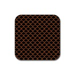 SCALES1 BLACK MARBLE & RUSTED METAL (R) Rubber Coaster (Square)