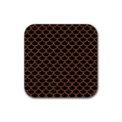 Scales1 Black Marble & Rusted Metal (r) Rubber Square Coaster (4 Pack)  by trendistuff