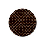 SCALES1 BLACK MARBLE & RUSTED METAL (R) Rubber Coaster (Round)