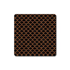Scales1 Black Marble & Rusted Metal (r) Square Magnet by trendistuff